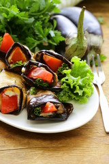 vegetable saute fried eggplant rolls with tomatoes