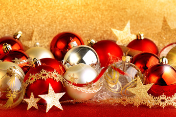 christmas balls, stars and ribbons