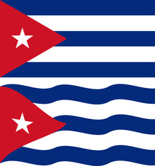 Flat and waving Cuban Flag. Vector