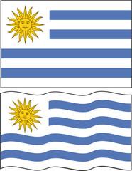 Flat and waving Uruguayan Flag. Vector