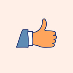 Hand drawn doodle thumb up icon vector illustration.