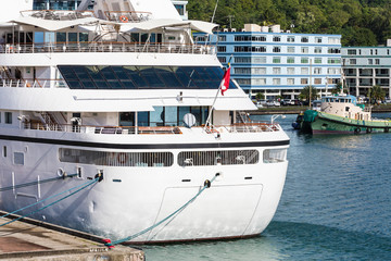 Small White Cruise Ship in St Lucia