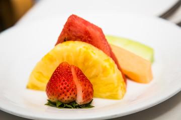 Split Strawberry and Sliced Pineapple