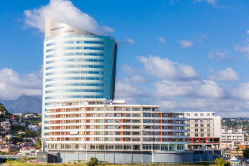 White Hotel with Blue Tower