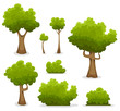 Forest Trees, Hedges And Bush Set - 71309948