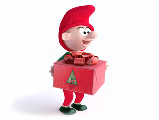 Funny Gnome With Christmas Gift Box in 3D