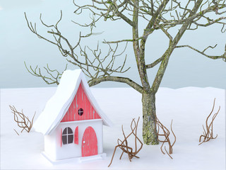 3D Winter Illustration with Fairy Cottage