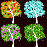 Stylized trees in different seasons