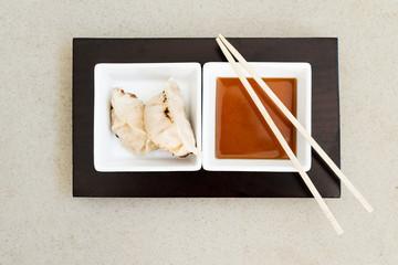 asian gyoza dumplings with sauce