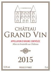 Étiquette bouteille de vin 2015