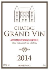 Étiquette bouteille de vin 2014