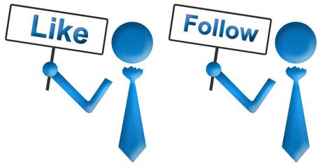 Human Signboard With Like Follow