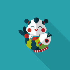 Chinese New Year flat icon with long shadow,eps10 Chinese Mascot