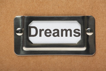 Drawer label on a cardboard box for your Dreams