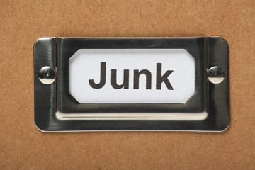 Drawer label on a cardboard box for your junk items