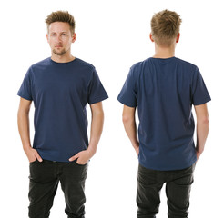 Man posing with blank navy blue shirt