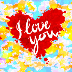 heart, i love you, colorful paint  vector background
