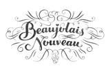 Beaujolais nouveau hand lettering. Typographical vector backgrou