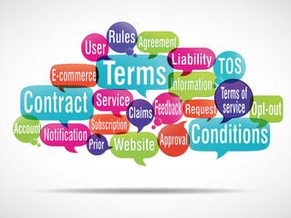 nuage de mots bulles : terms and conditions
