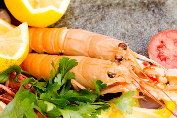fresh prawns with food garnish