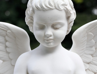 detail of beautiful cemetery angel statue