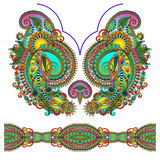 Neckline ornate floral paisley embroidery fashion design poster