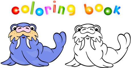 Funny cartoon walrus coloring book