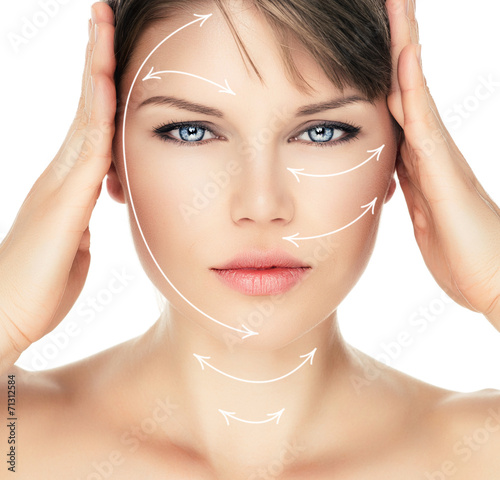 Laser therapy on pretty woman face, isolated over white