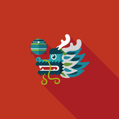 Chinese New Year flat icon with long shadow,eps10,The dragon and