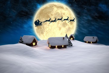 Composite image of snow covered houses