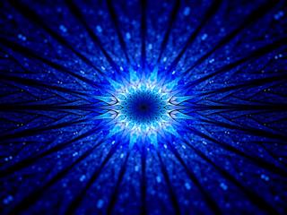 Blue glowing galactic clock in space