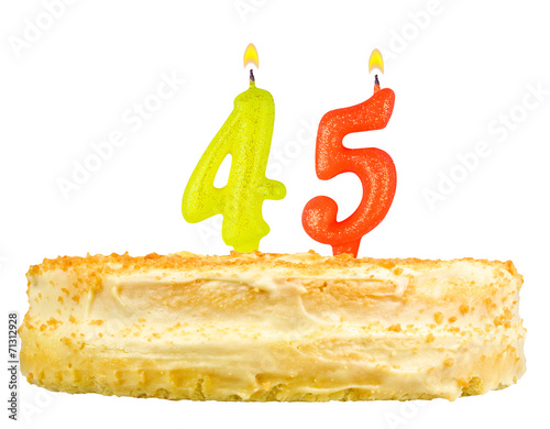 birthday cake with candles number forty five isolated on white Poster