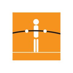Vector logo tightrope walker, balance concept