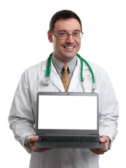 male doctor smiling and holding a laptop computer