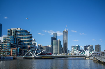Seafarers Bridge over Yarra River in South Warf , Melbourne CBD