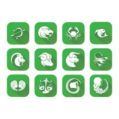Iconos Zodiaco verde sombra