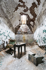 Eastern state penitentiary in Philadelphia. Prison cell.