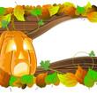 Pumpkin head on wooden  background