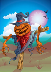 Pumpkin-scarecrow with background halloween