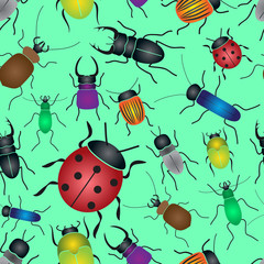 color bugs and beetles green seamless pattern eps10