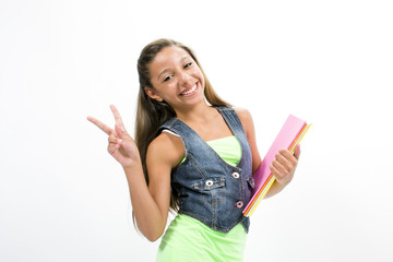 Girl student with colorful notebooks in hand