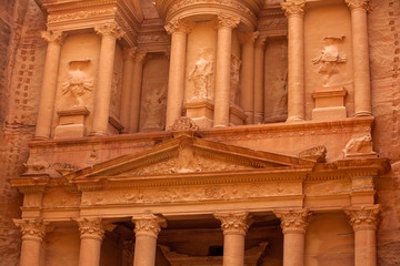 Magnificent facade of Treasury at Petra (Al Khazneh), Jordan