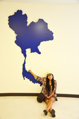 Thai women portrait with map of Thailand