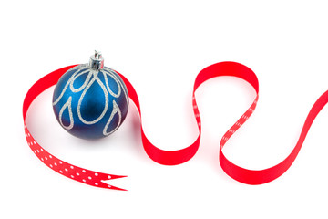 Blue Christmas bauble and red dotted ribbon