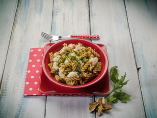 fusilli with fish and mushroom