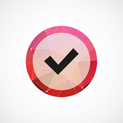 ok circle pink triangle background icon.
