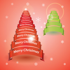 merry christmas tree from red or green ribbon banners eps10