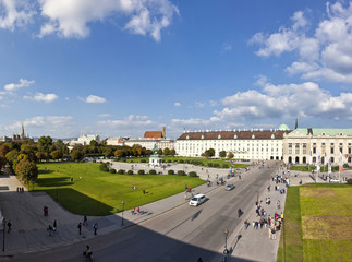 Panorama view at Volksgarten park and the Heldenplatz in Vienna