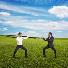 battle between two young businessmen