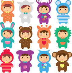 animal kids clip art set
